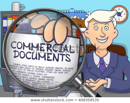 Commercial Documents through Magnifier. Doodle Style. Stock photo © tashatuvango