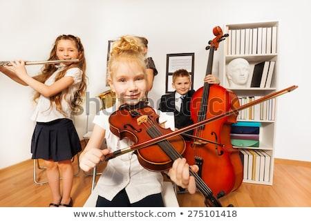 Gyerek fiú kéz furulya illusztráció játszik Stock fotó © lenm