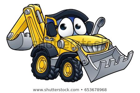 Buldózer rajzfilmfigura rajz építkezés jármű karakter Stock fotó © Krisdog