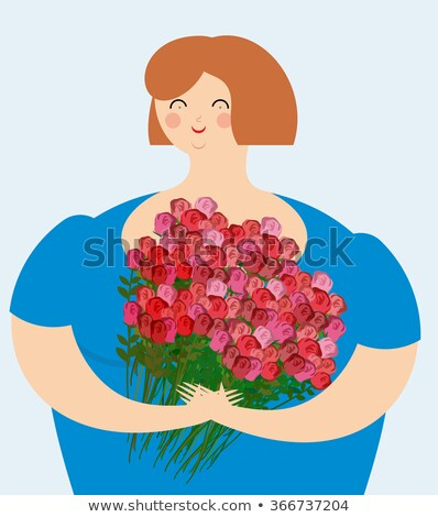 Cheerful kind woman with bouquet of roses. Exciting fat girl wit Stock photo © popaukropa