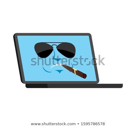Cartoon · portátil · icono · cara · sonriente · azul · Screen - foto stock © popaukropa