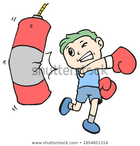 Mascot Punching Bag Boxer Stock photo © lenm