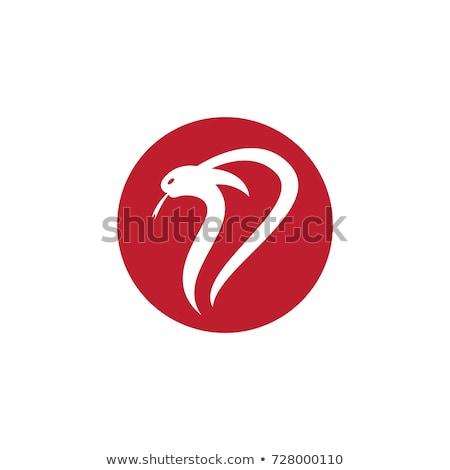 Foto stock: Viper Venom Snake Head Logo Logotype Circle Round