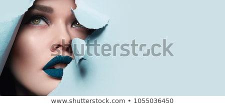 jonge · vrouw · balsem · lippen · glimlachend · gezicht - stockfoto © elnur