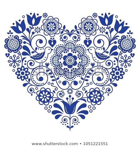 Scandinavian folk heart design greeting card or birthday or wedding invitation, floral vector patter Stock photo © RedKoala