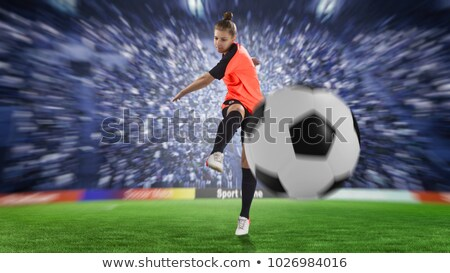 Vrouw voetbal voetbal kampioenschap pop art retro Stockfoto © studiostoks