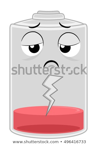 Mascotte batterij illustratie moe pack lopen Stockfoto © lenm