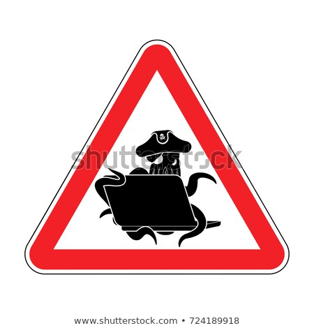 Atención web pirata pulpo portátil precaución Foto stock © popaukropa