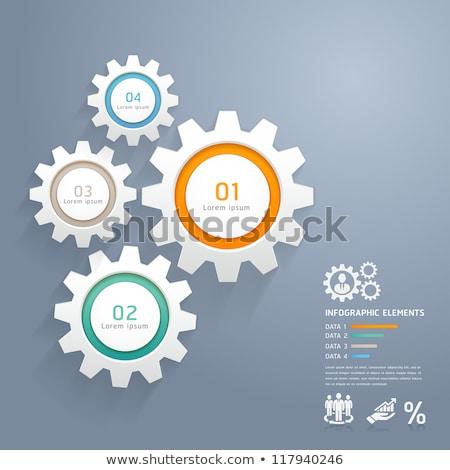 Stock fotó: Vektor · infografika · sebességváltó · gombok · modern · 3D