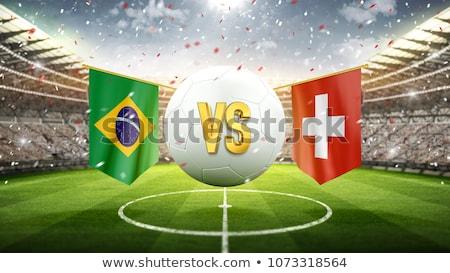 サッカー · サッカー · ボール · ブラジル · フラグ · 3D - ストックフォト © zerbor
