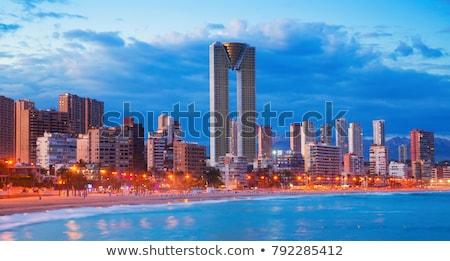 sziluett · Spanyolország · tengerpart · város · modern · üdülőhely - stock fotó © lianem