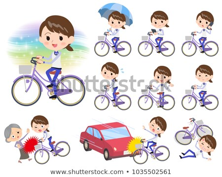 Stock photo: Store staff Blue uniform women_city bicycle