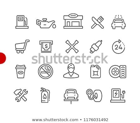 Foto stock: Gasolinera · iconos · rojo · punto · vector · línea