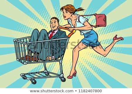 Kobieta kupiony pan młody koszyk sprzedaży pop art Zdjęcia stock © studiostoks
