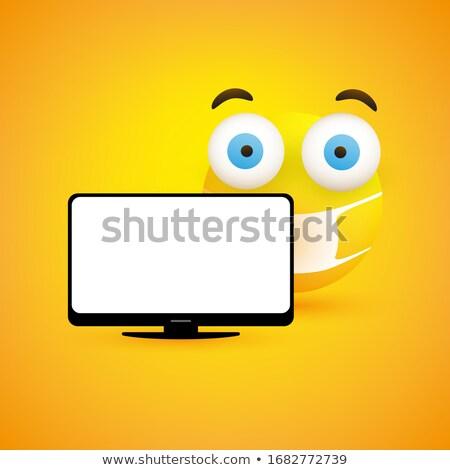 Ziek cartoon flatscreen tv illustratie televisie Stockfoto © cthoman