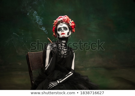 Woman painted like a skeleton Stock photo © acidgrey