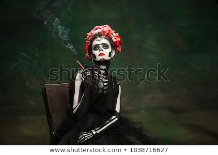 Nő festett ahogy csontváz portré halloween Stock fotó © acidgrey