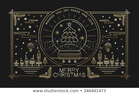 christmas and new year city outline greeting card stock photo © cienpies