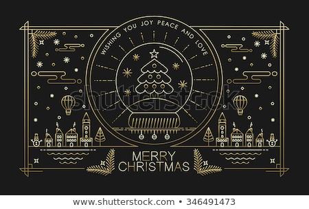 Stockfoto: Christmas · nieuwjaar · stad · schets · wenskaart · vrolijk