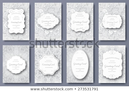 Set of wedding card flyer pages ornament illustration concept. Vintage art traditional, Islam, arabi Stock photo © Linetale