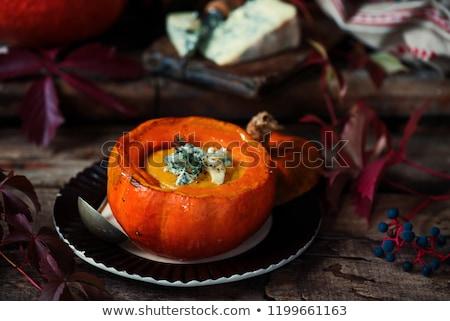 Dynia gruszka zupa niebieski rustykalny żywności Zdjęcia stock © zoryanchik