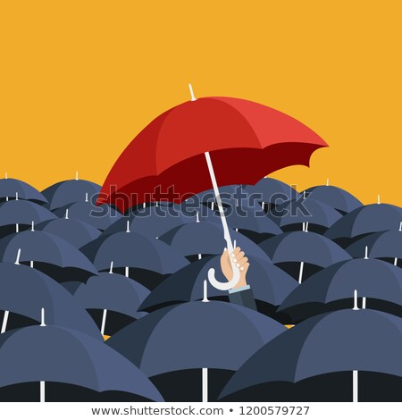 Red umbrella and many blue umbrellas. Uniqueness concept. Flat vector illustration Stock photo © makyzz