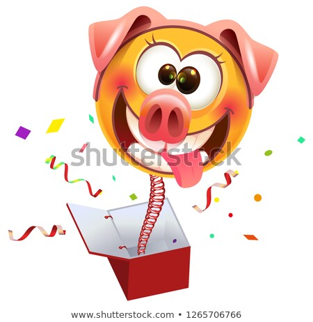 Yellow smile surprise masked pig jump out of box Stock photo © orensila