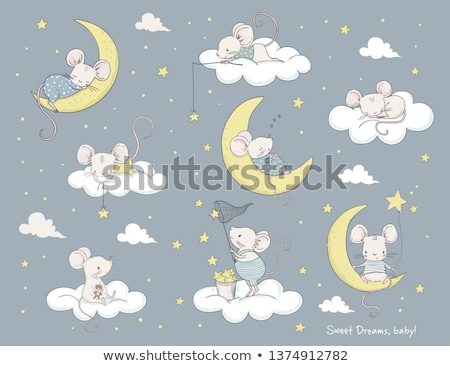 Rajz egér álmodik illusztráció mosolyog grafikus Stock fotó © cthoman