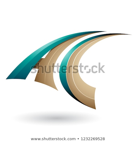 Persian Green and Beige Dynamic Flying Letter A and C Vector Ill Stock photo © cidepix