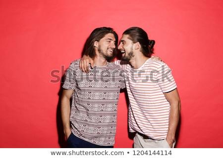 portré · kettő · mosolyog · iker · fiútestvérek · áll - stock fotó © deandrobot