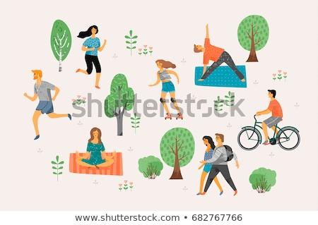 rowerowe · para · jogging · rodziny · ojciec · dzieci - zdjęcia stock © robuart
