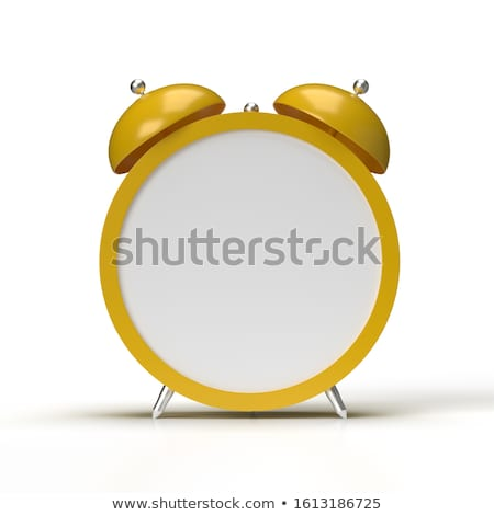 Stock photo: Alarm clock with an empty clock face on white background. 3D ren