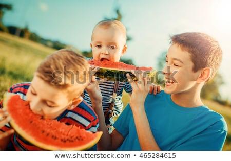 happy friends eating watermelon at summer picnic ストックフォト © dolgachov