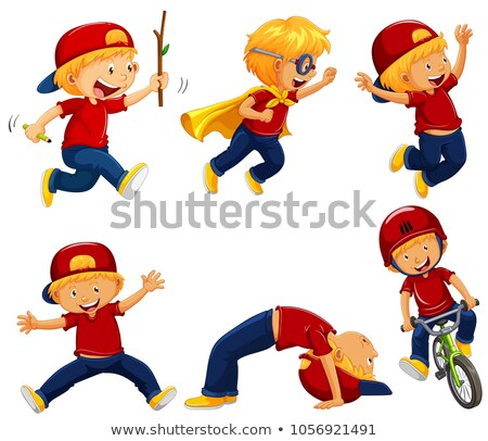Boy in red shirt doing different actions Stock photo © colematt