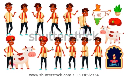 Indian Boy Set Vector. Diwali, Holy, Cow. For Presentation, Print, Invitation Design. Isolated Carto Stock photo © pikepicture
