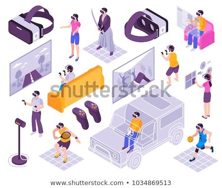 Interaktív valóság tevékenységek emberek beszélnek mobiltelefon szemüveg Stock fotó © robuart