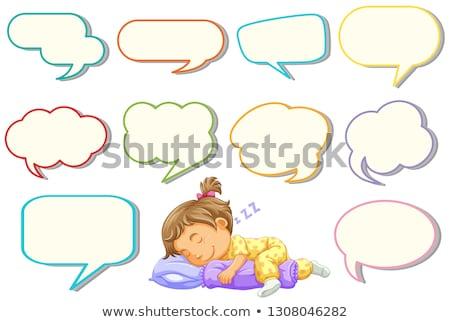 Lány alszik különböző szöveglufi illusztráció terv Stock fotó © colematt