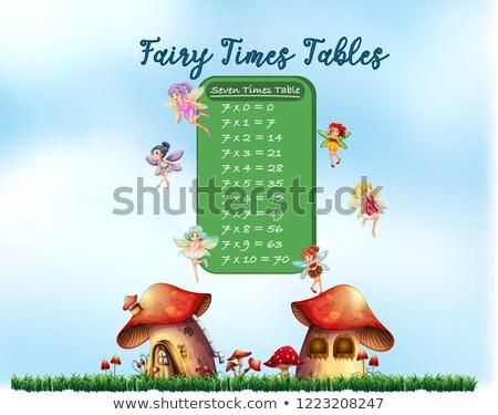 aantal · vier · tabel · illustratie · meisje · tijd - stockfoto © colematt