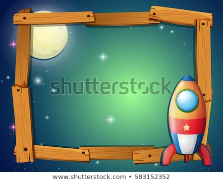 Frame template with rocket and fullmoon background Stock photo © colematt