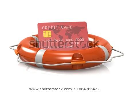 Stock photo: Bank Card on a Lifebuoy