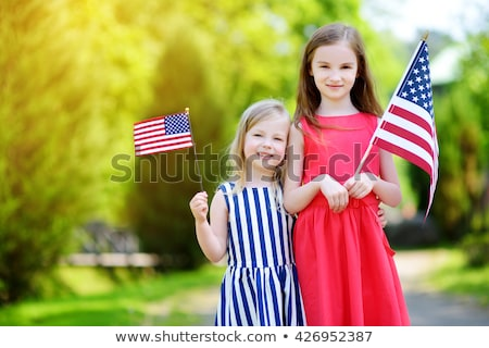 Twee meisjes Verenigde Staten vlag illustratie meisje Stockfoto © colematt