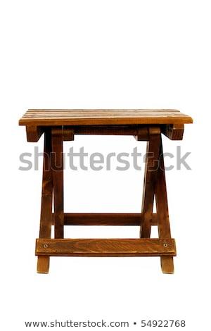 Сток-фото: элегантный · скамейке · структур · изолированный · белый