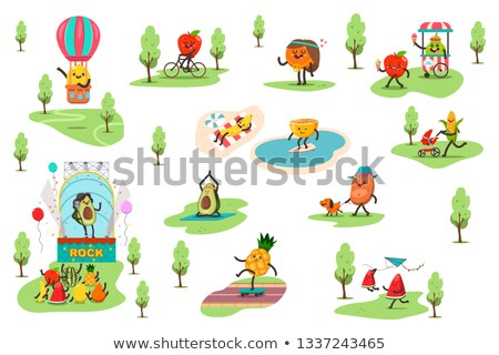 Bicycle and Apple Fruit Set Vector Illustration Stock photo © robuart