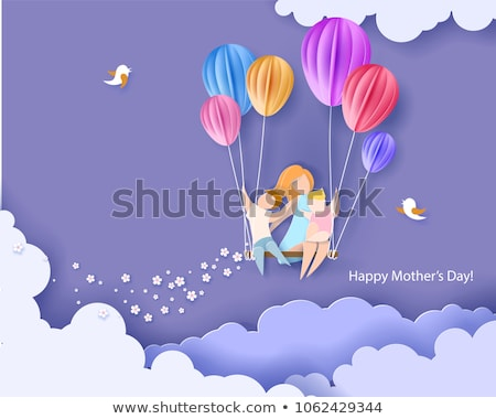 Family Mom Child with Balloon Vector Illustration Stock photo © robuart