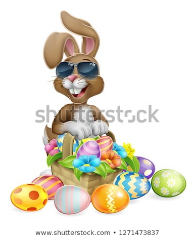 Lapin de Pâques cool lapin oeufs chasse panier Photo stock © Krisdog