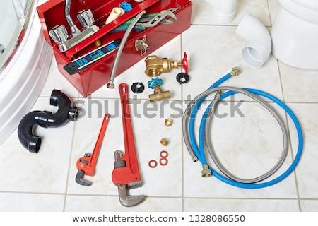 boîte · à · outils · clé · à · molette · propre · plastique · isolé · blanche - photo stock © kurhan