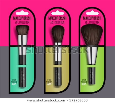 Makeup Brush Packaging Design Vector. Female Application. Equipment Collection. Beautiful Complexion Stock photo © pikepicture