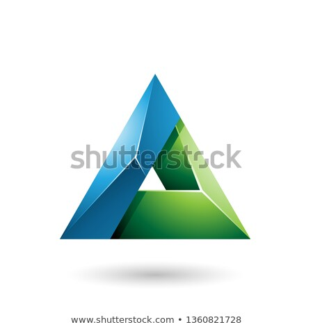 Blue and Green 3d Glossy Triangle with a Hole Vector Illustratio Stock photo © cidepix