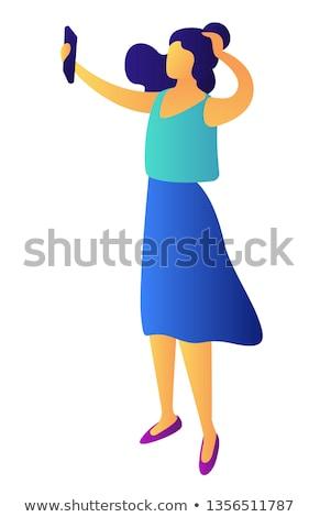 женщину · говорить · девушки · счастливым · моде · телефон - Сток-фото © rastudio
