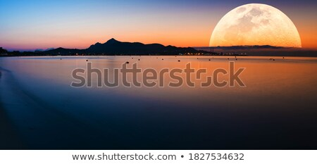A giant full moon city scene Stock photo © colematt